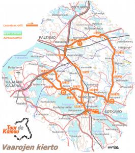 Vaarojen kierto -etapin reittikartta